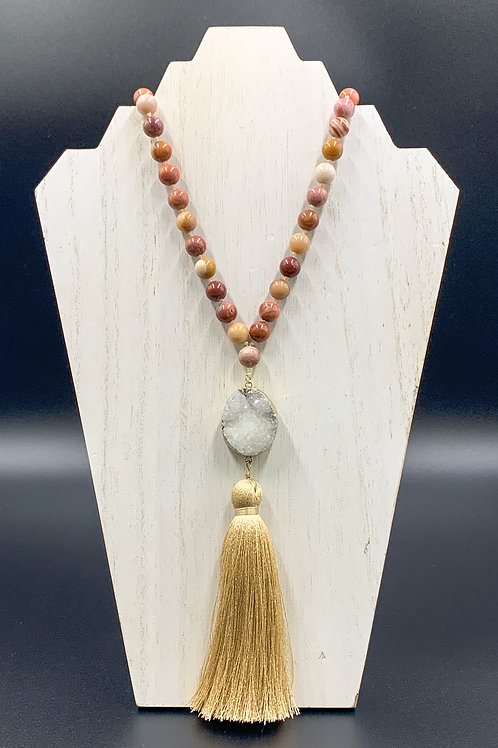 Long Red Beaded Tassle Necklace with Stone