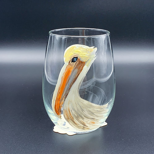 Hand Painted White Pelican Glass