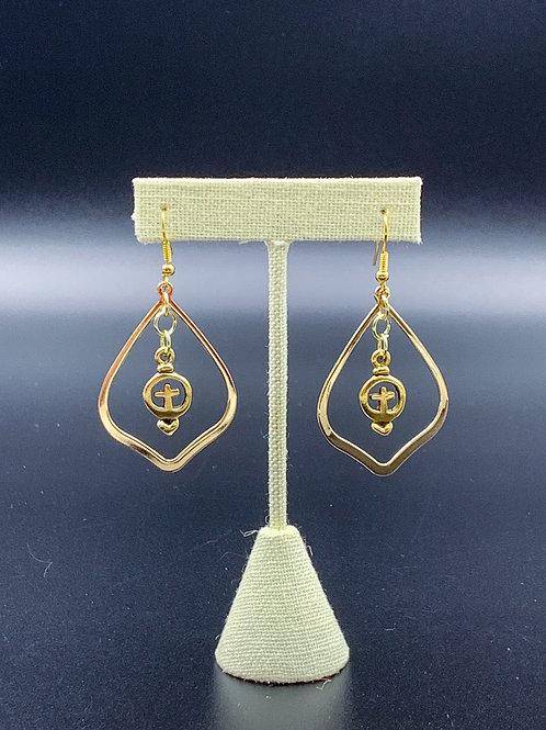 Gold Circled Cross Earrings