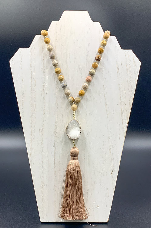 Long Gold Beaded Tassle Necklace with Stone