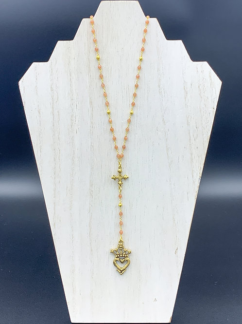 Pink Beaded Small Cross and Heart Necklace