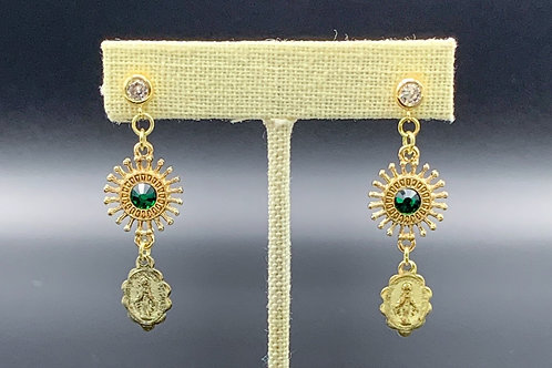 Gold Earrings with Emerald Jewel