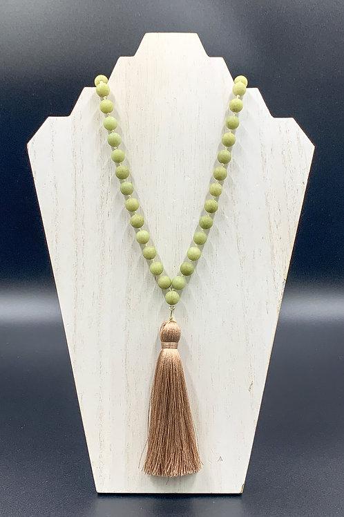 Long Green Beaded Tassle Necklace