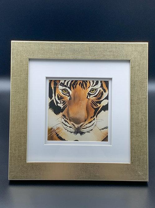 Tiger Face in Gold Frame