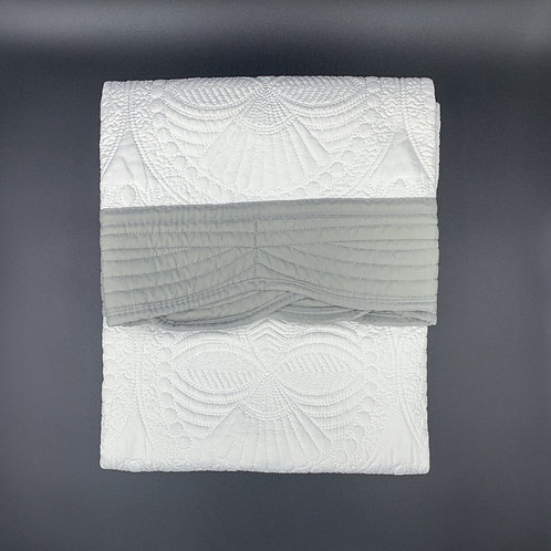 White Baby Heirloom Quilt with Grey Trim