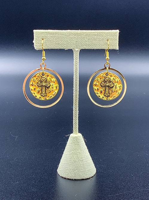 Gold Thick Circle Cross Earrings