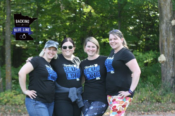 4 police wives wearing their Blue Line Life tee shirts