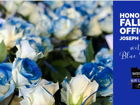 Honoring Fallen Officer Joseph Gomm of MN with Blue Roses