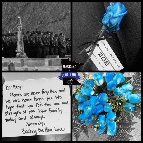 Grid of 4 photos - officers lined up at funeral, a blue rose with a tag honoring Officer Schneider, bouquet of blue roses, and letter to his wife from the ladies of Backing the Blue Line.