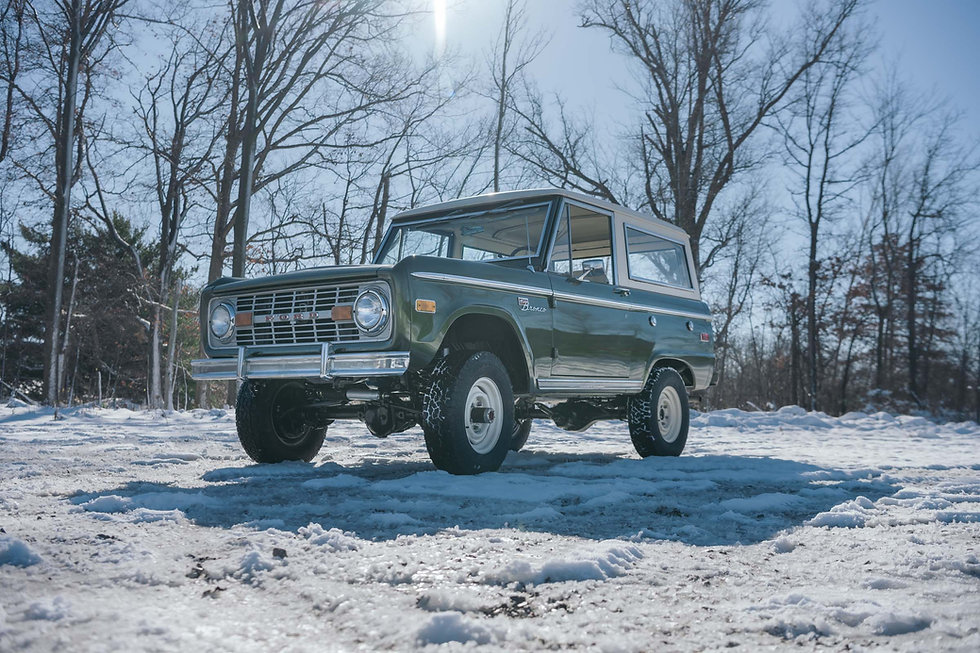 This mostly original Bronco just makes you smile! The uncut fenders and factory interior keep this vehicle true to form. We performed a frame off clean up on this vehicle and replaced all parts that were questionable.