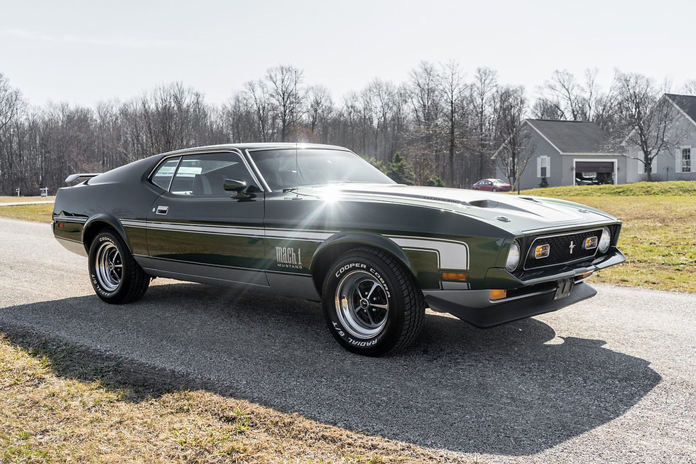 Finished in Dark Green Metallic, the car is equipped with a Mach 1 Sports Interior option, a full-length center console, front disc brakes, an MSD ignition, and Magnum 500-style wheels. Vintage Air climate-control system has been installed in place of the factory A/C system.