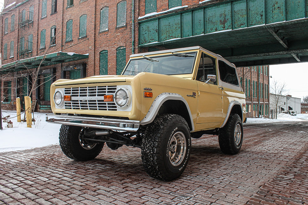 """Kona didn't get our full frame-off treatment but it's still got plenty of features! It's got the 302 engine, a 2 barrel carb, 3.5"""" lift, custom front core support, the original recovered interior, radio and bluetooth, power steering, an aluminum radiator, a C4 automatic transmission, BFG KO2 tires, a twin stick transfer case, and a Centech wiring harness!"""
