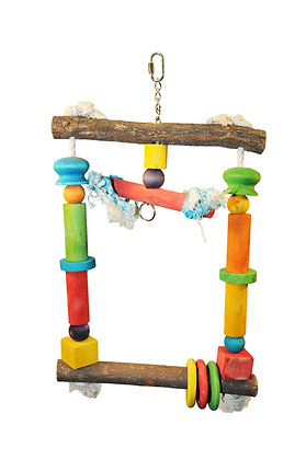 Natural Wood Swing with Rope