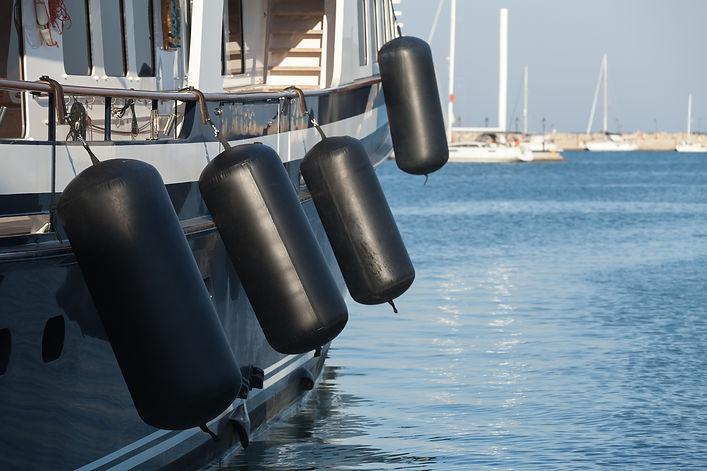 Big fenders on a yacht