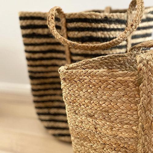 Large Natural Jute Basket - wide