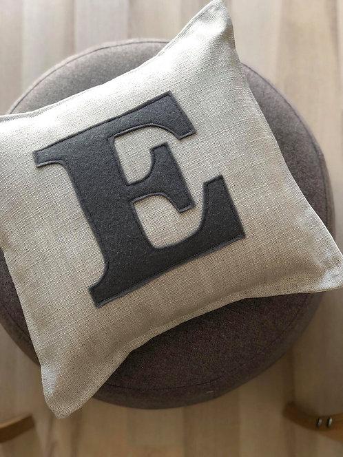 E on Grey Linen Cushion