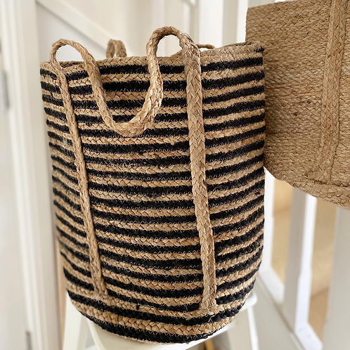 Extra Large Striped Jute Basket - short handles
