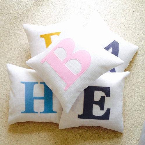 """Linen Initial Cushion 15"""" BESPOKE"""