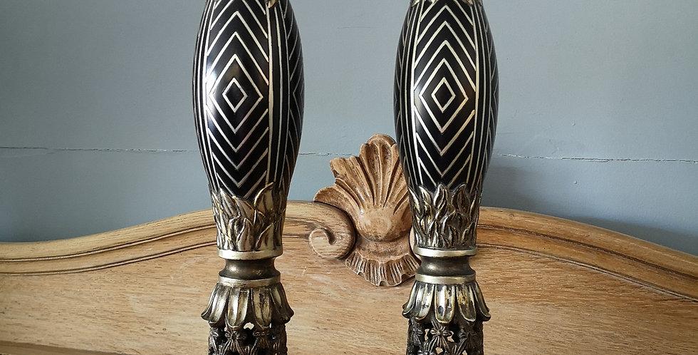 Pairof Ebony & Gold Candle Holders