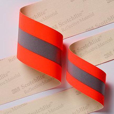 แถบผ้าสะท้อนแสงฟลูออเรสเซ้นต์กันไฟ 3M™ Scotchlite™ 9586 / 9587