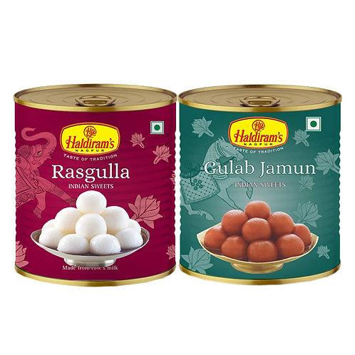 Haldiram's Gulab Jamun + Rasgulla