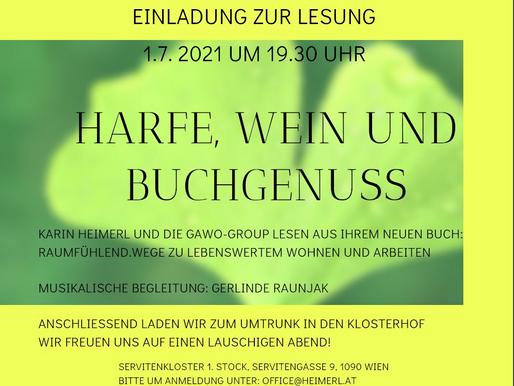 Harfe, Wein und Buchgenuß am 1. Juli