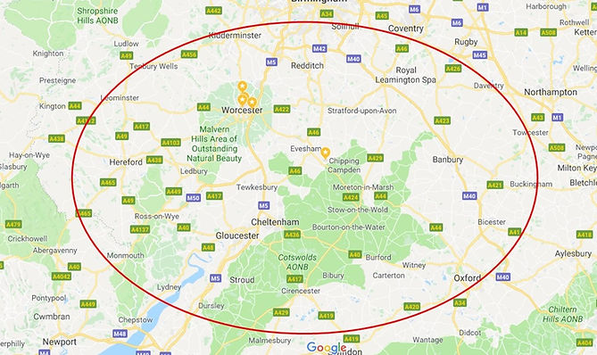 Our usual scope of works is within a 40 mile radius of our offices regularly featuring; Evesham, Cheltenham,Worcester and The Cotswolds