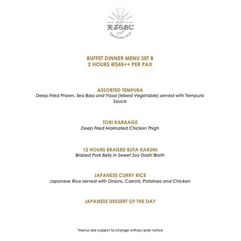 Buffet Dinner Menu - Set B