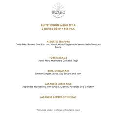 Buffet Dinner Menu - Set A