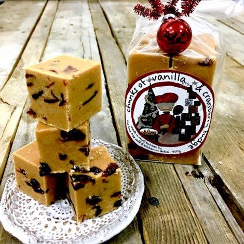 Christmas Vanilla & Cranberry Fudge