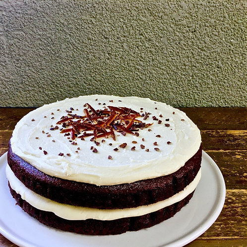 Dark Chocolate with Tahini frosting - (Gluten Free & Vegan)
