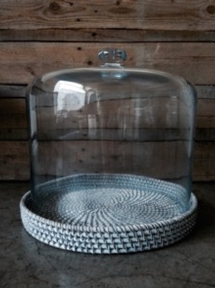 Glass Dome with White Rattan Base