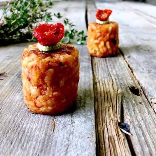 Oven Roasted Cherry Tomato, Mozzarella & Basil Risotto Bites