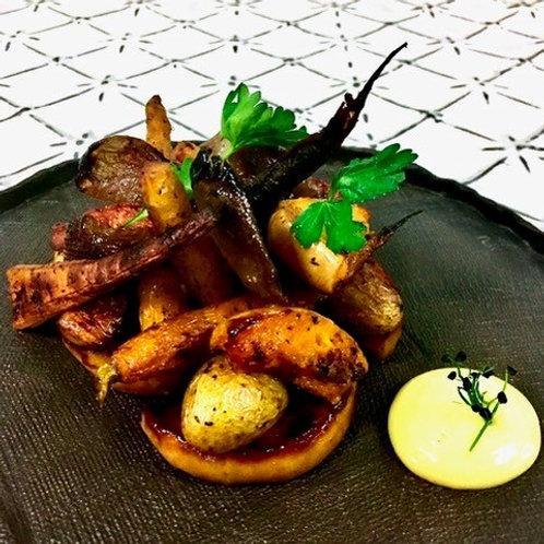 Winter Roast Root Vegetables with Parmesan & Garlic Aioli (v,gf)