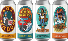 A collaboration series between Norwalk Brew House, Brewjeria Company, South Central Brewing Company & cartoonist Lalo Alcaraz.   Each beer was created to support a specific group of migrant workers by partnering with local nonprofits.  Proceeds were donated to the following nonprofit organizations:   1. Inclusive Action For The City. 2. CLEAN Carwash Worker Center.  3.  National Day Laborers Organizing Network. 4. Garment Worker Center  L to R:  Los Vendors  Released 9/26/20  Los Car Washeros Released 1/5/21  Los Jornaleros  Released 6/12/21  Las Costureras Released 9/25/21