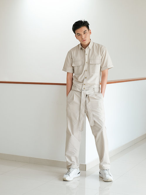 evenodd CONTRAST JUMPSUIT WITH POCKETS BEIGE