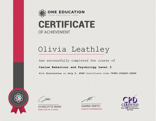 Canine Behaviour and Psychology Lv3 Certificate