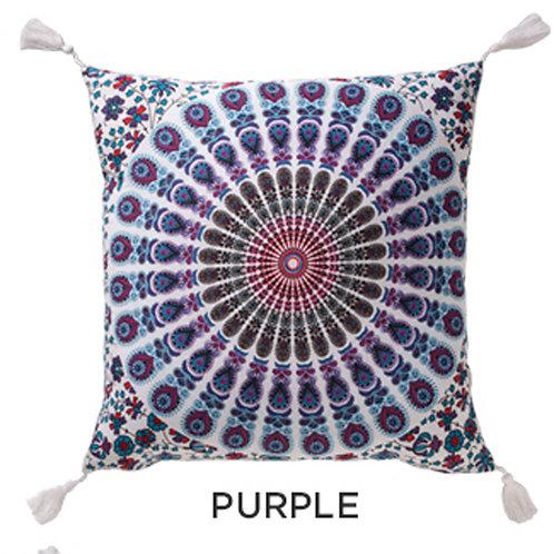 Mandala Design Cotton Cushion Cover in Purple