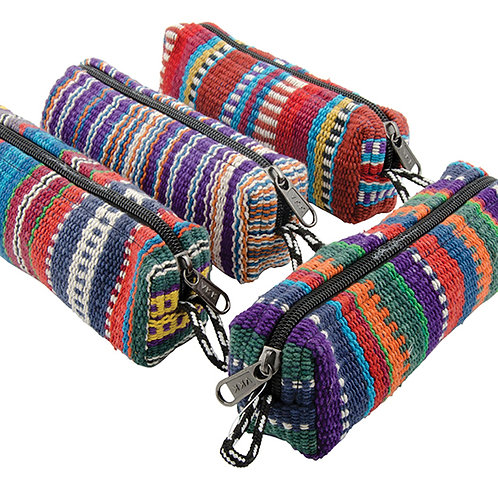 Stripe Cotton Pencil Case / Make Up Bag. Handmade in Nepal. Assorted Colours