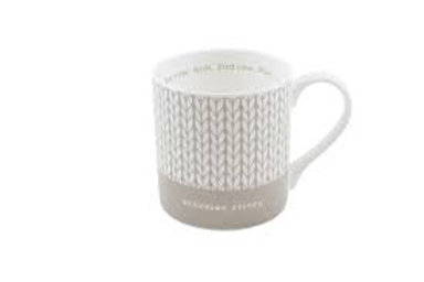 Debbie Bliss Mug with Knitting Design - Grey