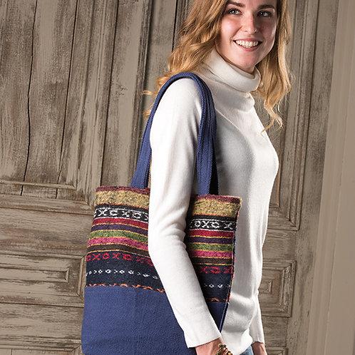 Brushed Gheri Fabric Shopping Bag: Blue