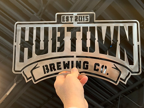 Hub Town METAL Wall Sign