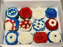 RWB floral cupcakes
