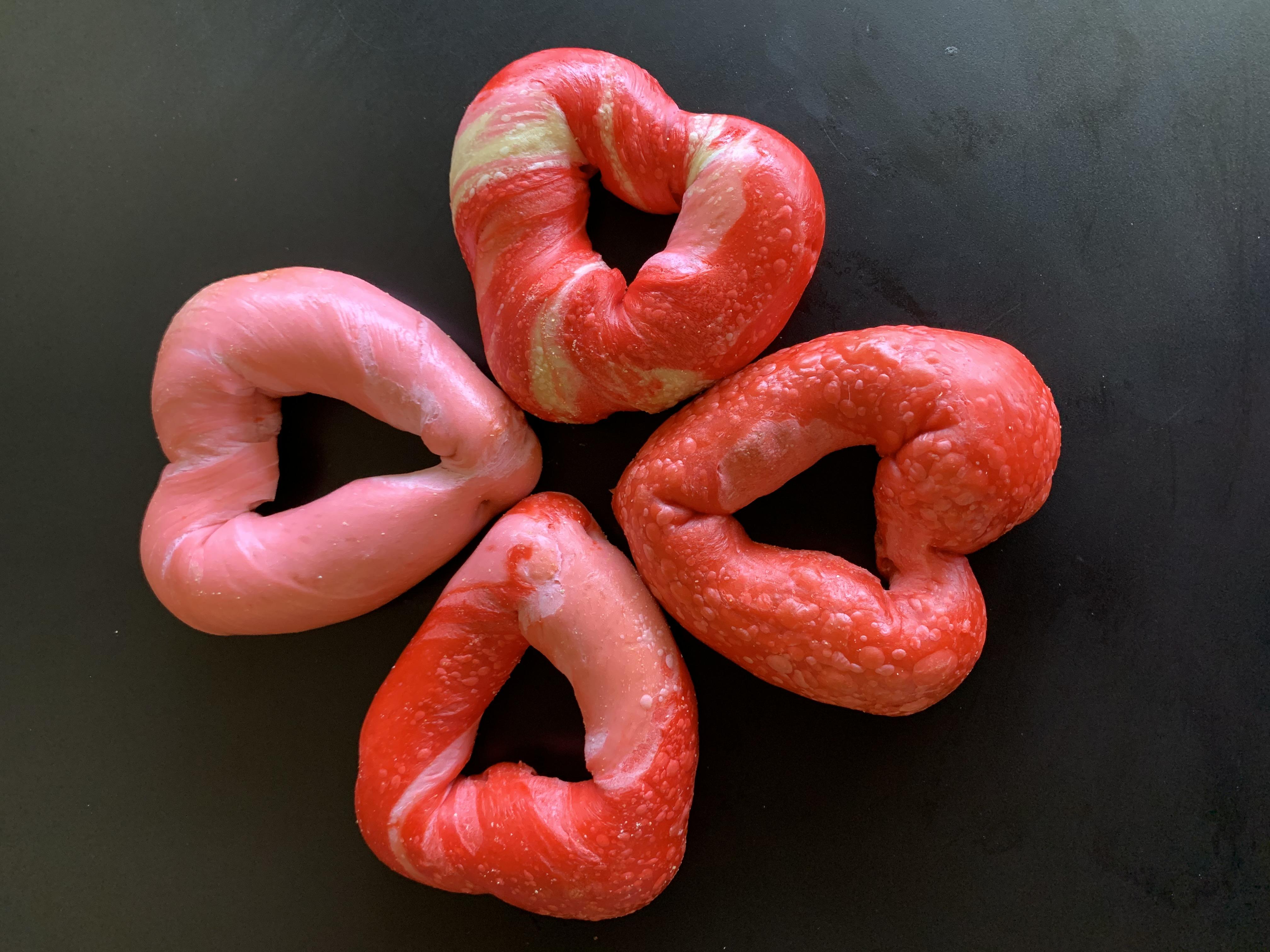 4 heart bagels