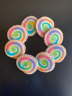 Rainbow-swirl cookies
