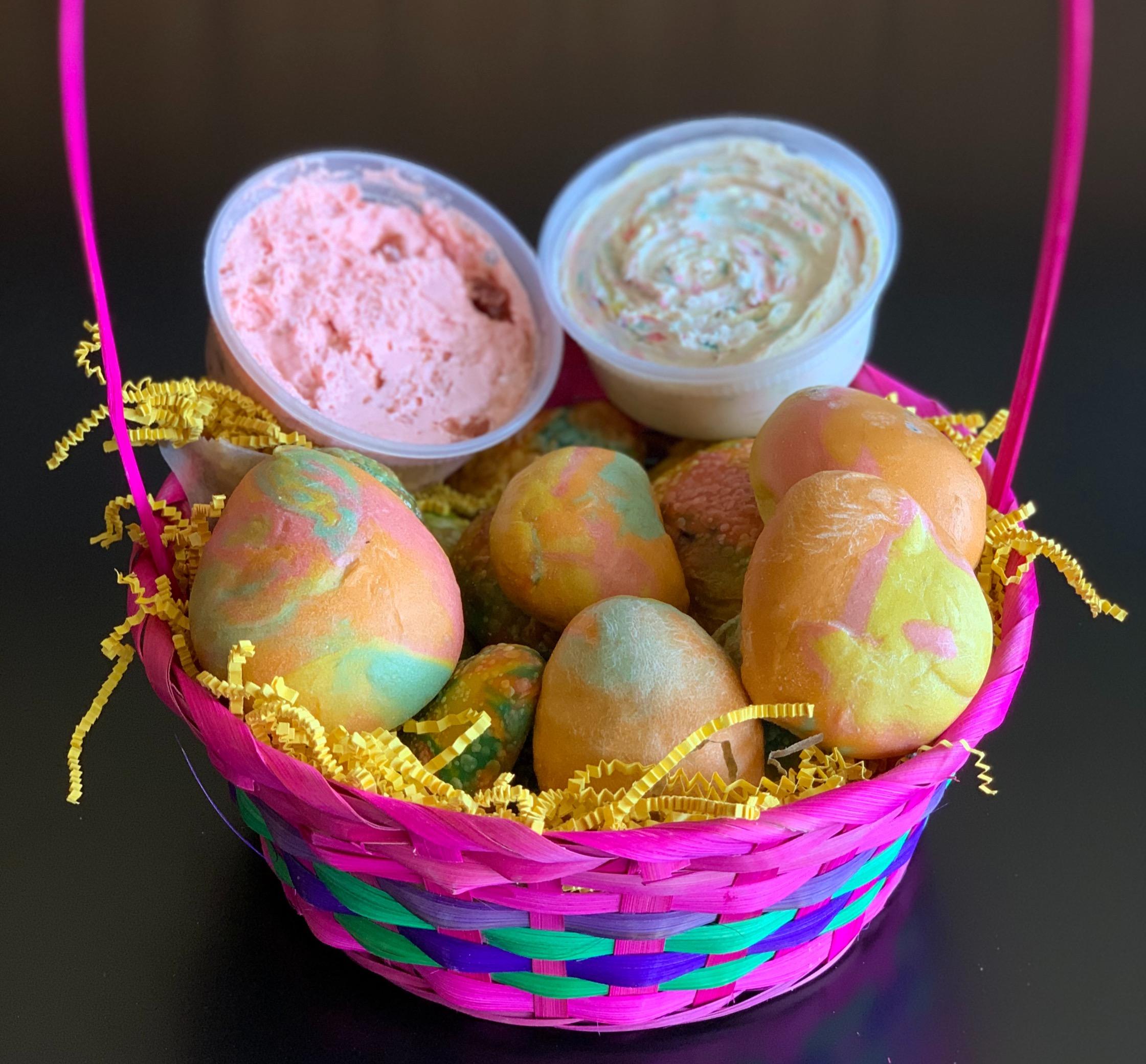 Egg shaped Easter bagel basket