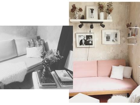 upcycling / opas rose velvet sofa