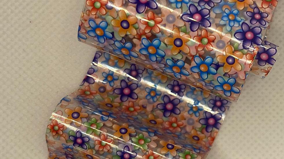 Flower design on clear transfer foil