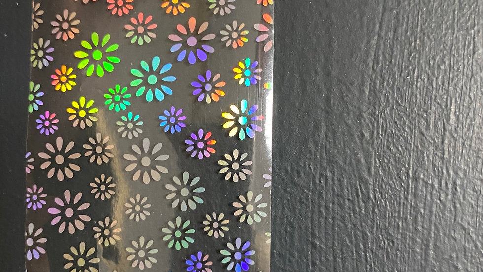 Holographic daisies on clear foil