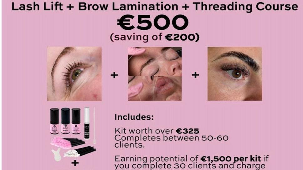 Online Combo Lash Lift & Brow Lamination & Threading